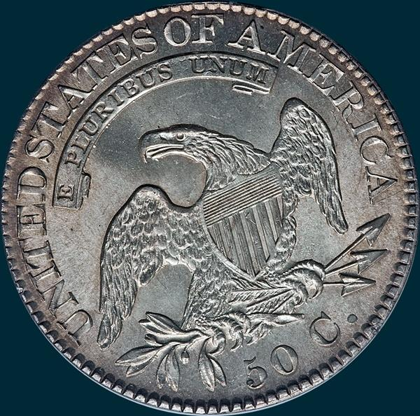 1824 O-113, capped bust half dollar