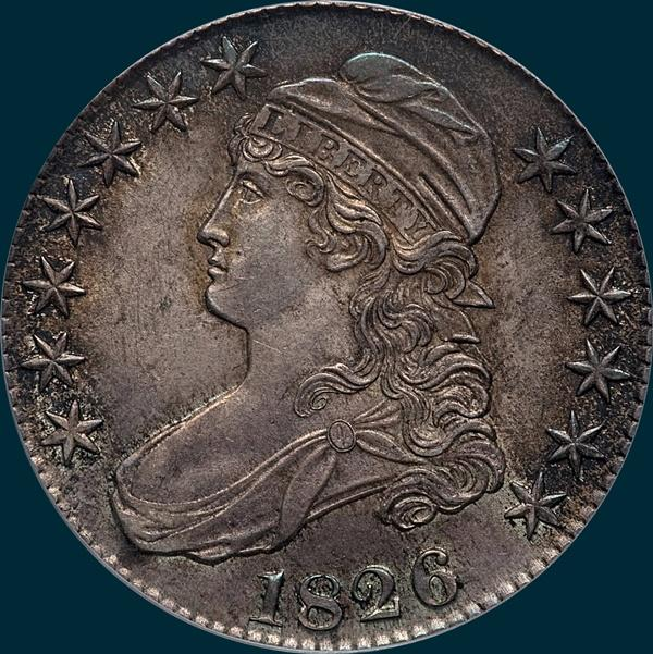 1826, O-120, capped bust, half dollar