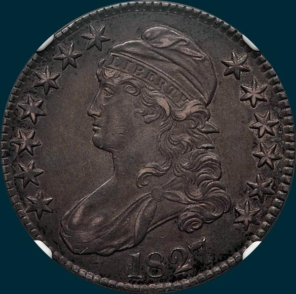 1827, O-108, capped bust, half dollar