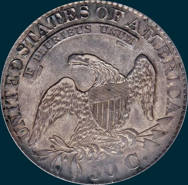 1827, O-124, capped bust, half dollar