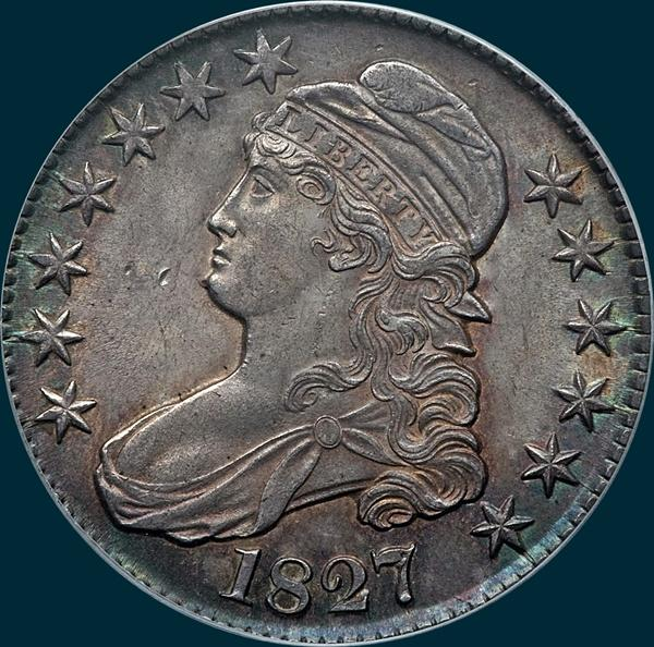 1827 O-129, Capped bust half dollar