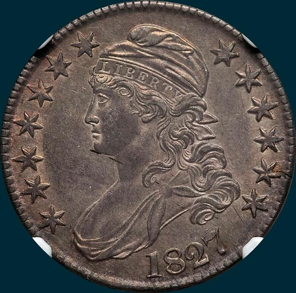 1827, O-134, R4, Square Base 2, Capped Bust, Half Dollar