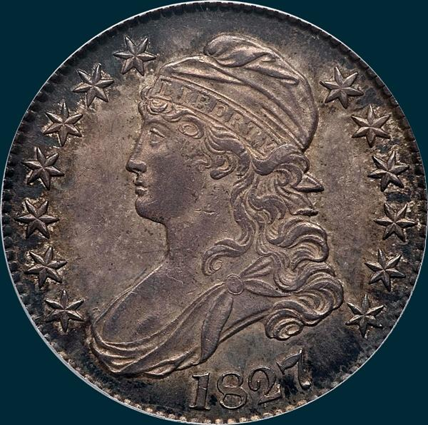 1827 O-144, capped bust, half dollar