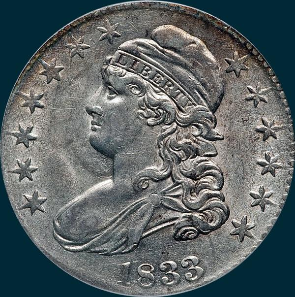 1833 O-111, capped bust half dollar