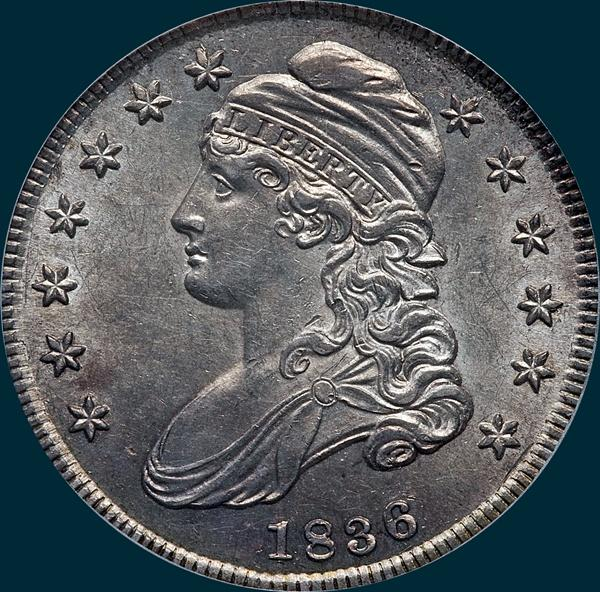 1836, o-103, capped bust, half dollar