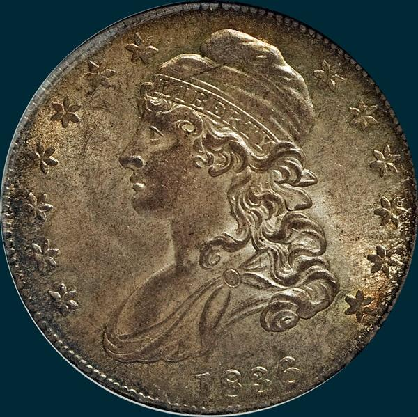 1836, o-105, capped bust, half dollar