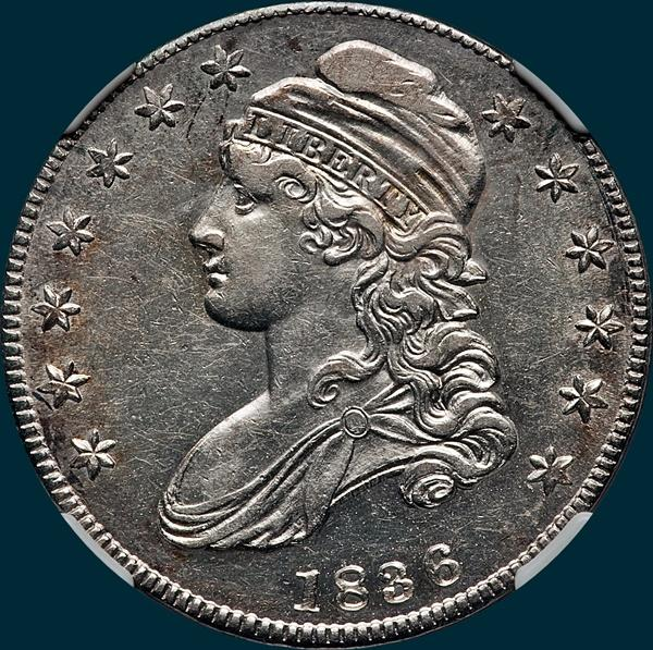 1836 o-121, capped bust, half dollar