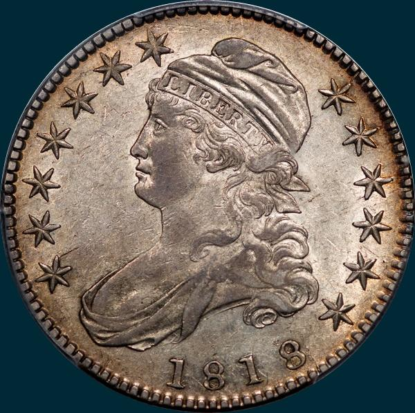 1818 O-115, capped bust, half dollar
