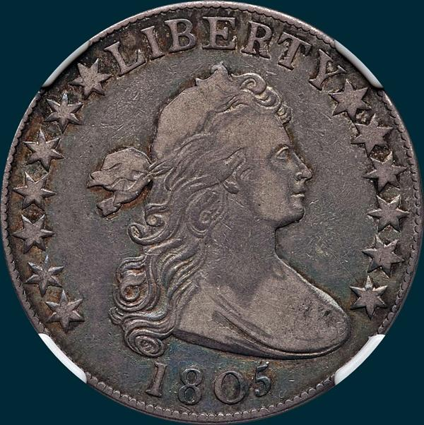 1805, O-105, Draped Bust, Half dollar