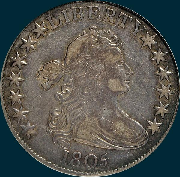 1805, O-109a, R4-, Draped Bust, Half Dollar