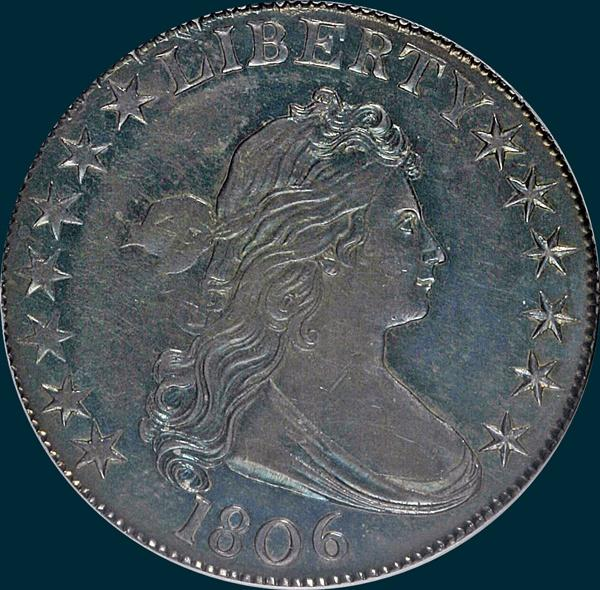 1806, O-125a, Pointed 6, Stem, Draped Bust, Half Dollar