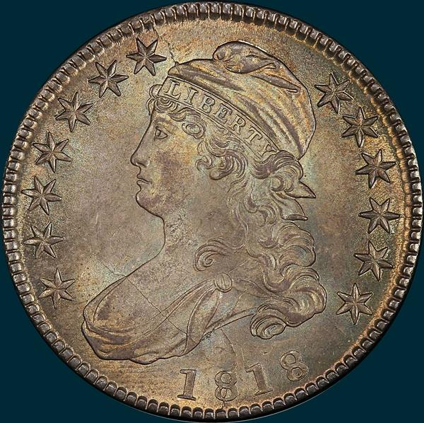 1818 O-104, capped bust, half dollar