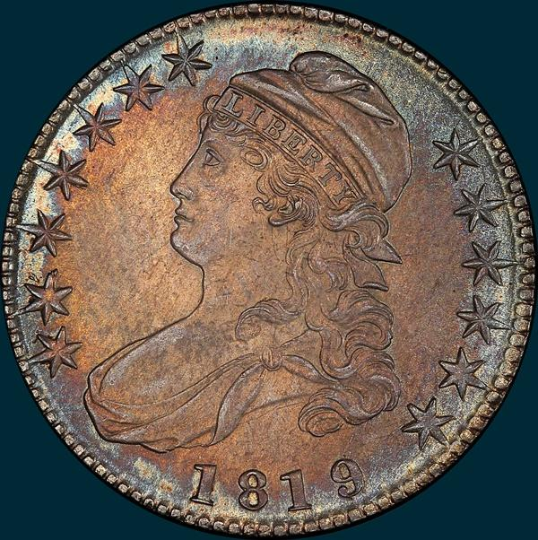 1819, O-104a, Large 9 over 8, Capped Bust, Half Dollar
