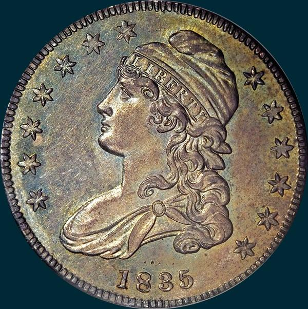 1835, O-110, Capped Bust, Half Dollar