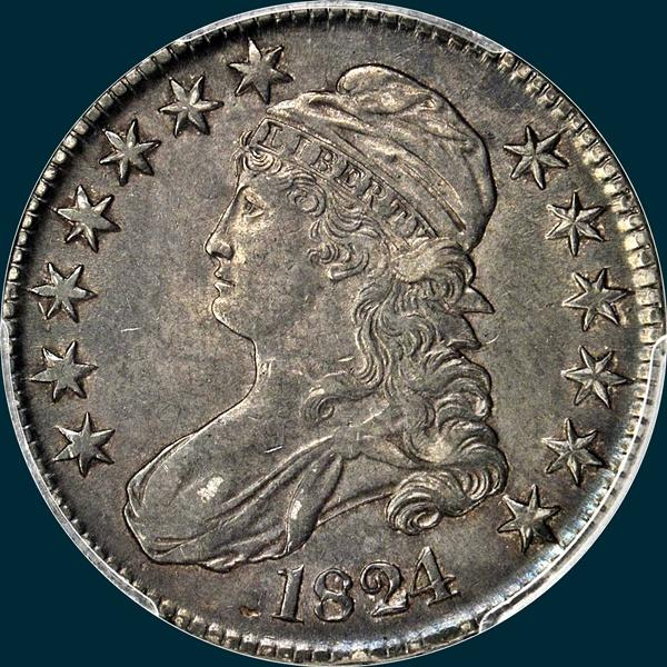1824 O-114, capped bust half dollar