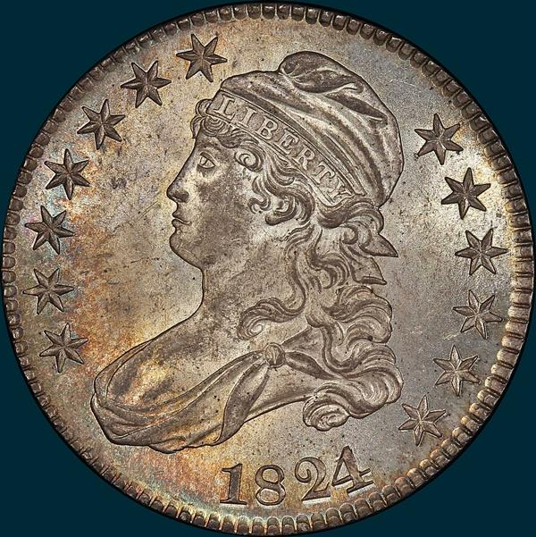1824/1, O-101, Capped Bust, Half Dollar