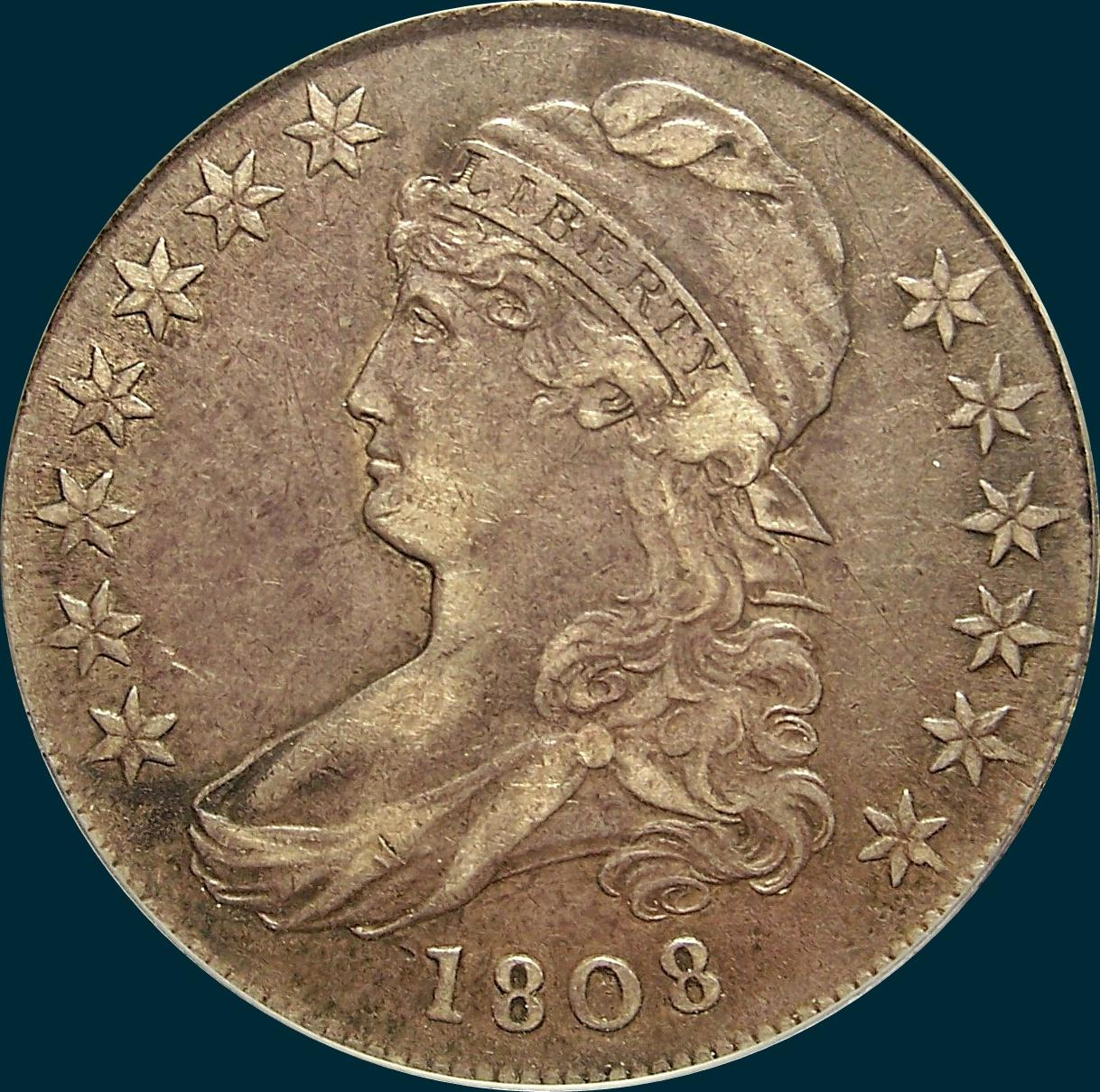 1808, O-108, Capped Bust, Half Dollar