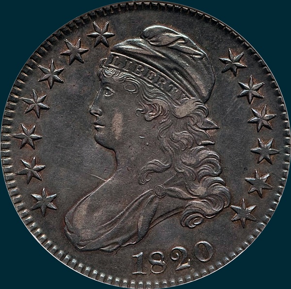 1820, O-107, Square Base 2, Large Date, No Knob, Capped Bust Half Dollar