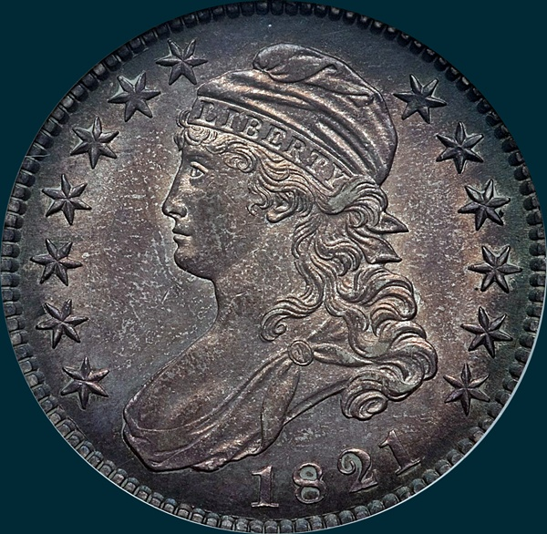 1821, O-107, Capped Bust, Half Dollar