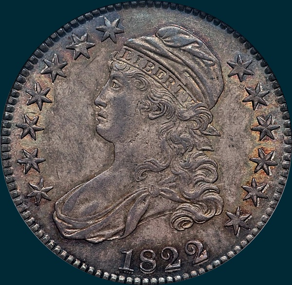 1822 22/1, O-102, Capped Bust, Half Dollar