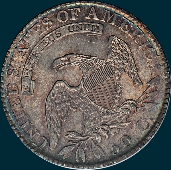 1824 O-105, capped bust half dollar