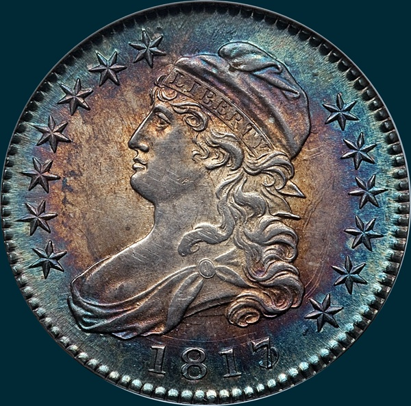 1817, O-101a, 7 over 3, Capped Bust, Half Dollar