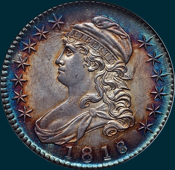 1818, O-101a, 8 over 7, Large 8, Capped Bust, Half Dollar