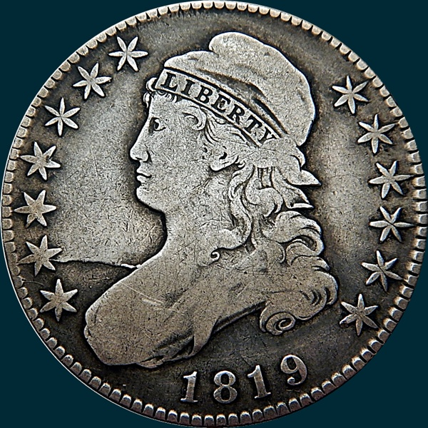 1819, O-107a Late Die State, Capped Bust, Half Dollar