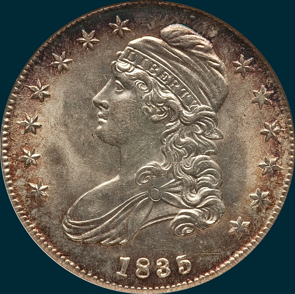 1835, O-106, Capped Bust, Half Dollar